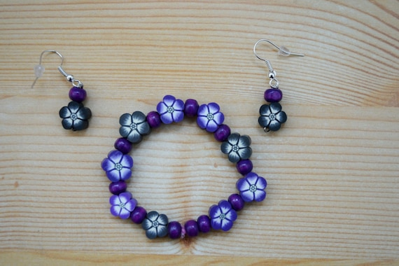 Girls set,girls bracelet,girls earrings,flowers bracelet,purple bangle,girls jewelry set,girl bracelet,girl earrings,girls elastic bangle