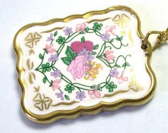 VTG Vintage Hand Painted Kiln Fired Ceramic Vintage Floral Pendant, vintage flower pendant, hand painted flowers, vintage ceramic pendant