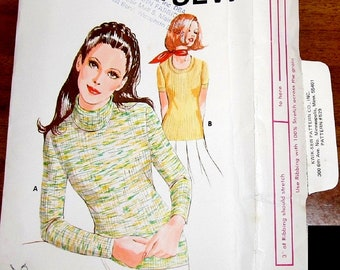 Vintage 1970s Sewing Pattern Kwik Sew 529 Scoop Neck Turtleneck Sweater Top, Womens Misses Bust 32 35 37 38 40 41 43 45 Uncut Factory Folds
