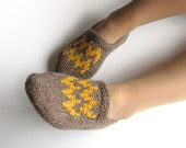 EU Size 37.5-38 - Patterned Hand Knitted Slippers - Winter Home Comfort - 100% Natural Wool