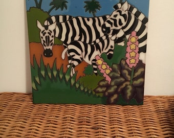 Arius Handpainted Clay Zebra Safari Tile
