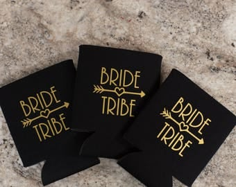 Bride Tribe can holder. Personalized wedding gift. Gold heart arrow. Customized Bachelorette party gift. Funny customized beverage insulator