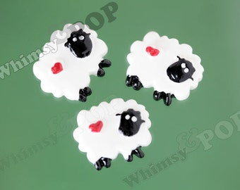 5 - Kawaii Black Sheep Flatback Cabochons, Decoden Resin Flatback Cabochons, Sheep Cabochons, 19mm x 21mm (R8-024)