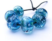 Handmade lampwork bead set of 6 turquoise and silver spankle beads
