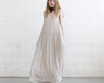 Chiffon Maxi dress, Ivory summer dress, oversize summer dress.