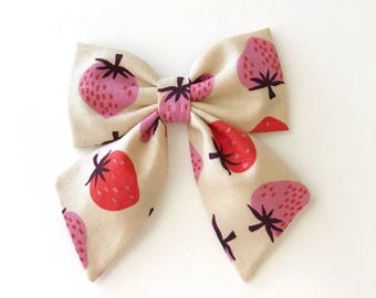 Summer Sailor Bow - Girls Bow Clip - Fabric Bow Clip - Strawberry Bow Clip - Oversized Bow - Big Bow Clip - Strawberry Sailor Bow - Hair Bow