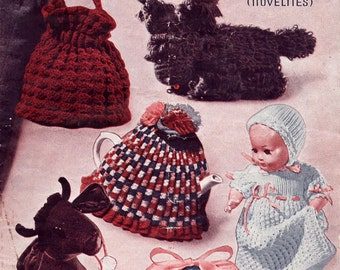 1930s Vintage Craft Book Toys Rugs Cushion Bags Tea Cosies Doll Clothes Bed Socks Pot Holders Art Deco Knit & Crochet Designs Original Book