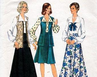 1970s Blouse, Skirt & Vest Pattern Style 4901 Vintage Sewing Pattern Boho Maxi or Knee Length Flared Skirt Back Zip Shirt Bust 44 Plus Size