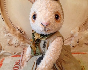 Bunny rabbit Vintage style  Artist Bear folk art Easter Handmade Primitive Hafair Penny Grotz