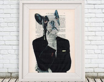 Bulldog print, hollywood print, spectre, 007 inspired art, black and white, wall art prints, gun art, james bond print, human animal art