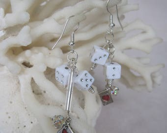Roll the Dice with a Sphere of Clear Crystals and the Ace of Hearts Earrings