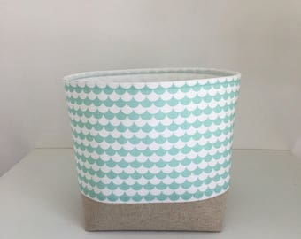 Fabric Storage Basket, Storage Basket, Mint Scallops, Modern Baby Nursery Storage, Small Storage Bin