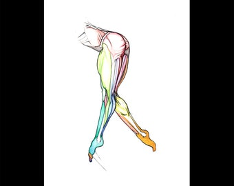 Split motion, nude female ballet art, dancer anatomy art, muscle art, framed ready to hang, NYC art