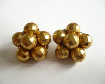 Vintage Cluster Earrings Clip On Gold Disco Ball Beads