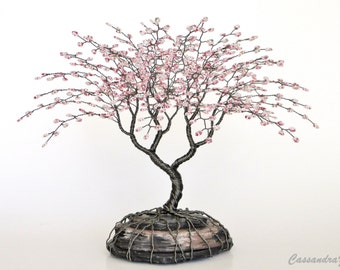 Cherry Blossom Beaded Bonsai Wire Tree Sculpture Bent Trunk Spring Colors - MADE TO ORDER Custom