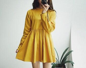 Handmade  Vintage inspired simple dress, Design dress, High waist dress, Lolita dress, a-line dress, Long sleeve dress, vintage