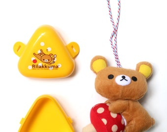 Rilakkuma accessory set of 2 (plush charm and mini yellow storage)