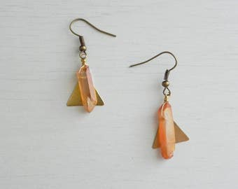 Makeda Earrings // Brass Triangles + Raw Crystal Quartz + Nickel Free Hooks