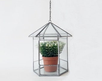 Vintage Glass and Metal House Greenhouse Terrarium Display Box with Chain
