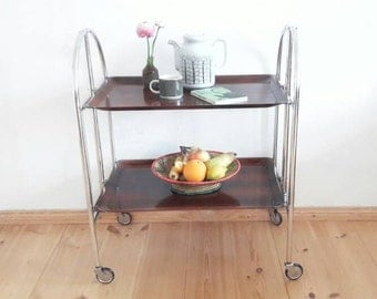 Mid Century Folding Serving Cart Faux Bois and Chrome Made in Germany