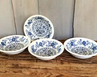 Vintage Enoch Wedgwood Blue Heritage Berry Bowls / Blue Onion / Dessert Dishes / Wedgwood Bowls