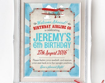 Vintage Airplane Party Sign - INSTANT DOWNLOAD - Editable & Printable Birthday Party Decorations, Decor, Aeroplane, Birthday, Welcome Poster