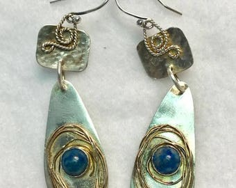 Handcrafted Sterling Silver Earring with Natural Lapis Lazuly Cabochon Stones