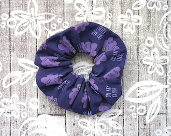 Lumpy Space Princess Scrunchie - Purple LSP Scrunchy / Adventure Time Fabric / LSP Hair Tie / Large Cotton Scrunchie / Geek Girl Gift