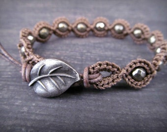 Rustic Silver bracelet - faceted pyrite beads - rustic pewter leaf - Boho Bohemian Crocheted Jewelry