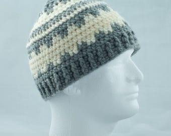 Gray and Cream Wool Blend Crochet Fair Isle Hat, Nordic Unisex Winter Cap, Ski Hat