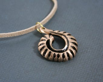 Bronze Shell Necklace Mens Pendant Cast Metal - made from handcasted bronze