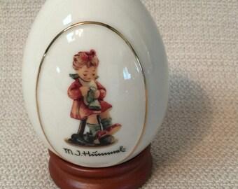 M.J. Hummel Porcelain Egg Mother's Helper With Wooden Stand
