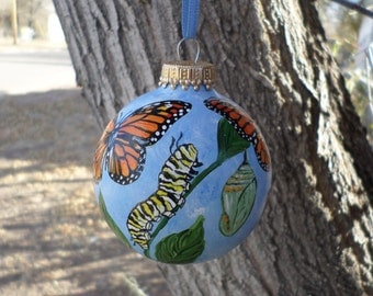 Butterfly Ornament, Hand Painted Ornament, Monarch Ornament no316