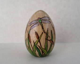 dragonfly decorated Easter egg, dragonfly paperweight, wood egg, pyrography, wood burning