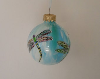 Hand painted Christmas ornament, dragonfly decoration, personalized , blue white swirl 361