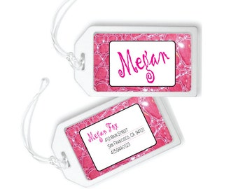 Personalized Luggage Tag, Faux Leather Luggage Tag, Personalized Travel Tag, Bag Tag, Girls Backpack Tag, Backpack Tags, Kids Luggage Tags