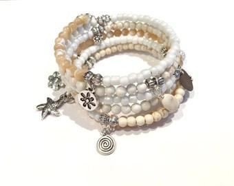 Starfish Bracelet, Beaded Wrap Bracelet, Gifts for Her Under 30, Stone Wrap Bracelet, Beach Bracelet, Shell Bracelet, Coastal Beach Jewelry