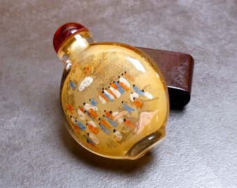 Vintage Chinese Reverse Painted Ornamental Opium Bottle