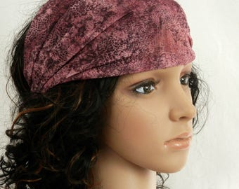 Dark Pink Knit Headband in Pink, Wine and Chocolate Brown Tonal Print  Head Scarf Handmade Hair Accessory by Thimbledoodle