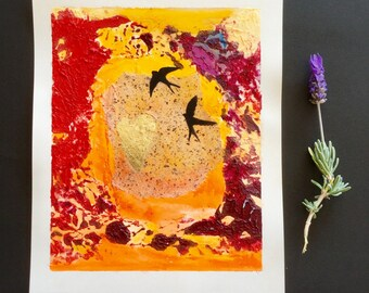 collage painting, small painting, mixed media, golden heart, abstract art, valentines day