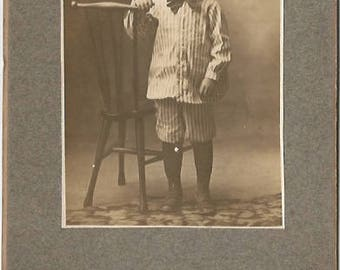 Little Boy in Pinstripe Suit Vintage Cabinet Card Antique Photograph Sepia tones Sienna tones