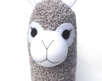 August the Sock Alpaca - grey marle - READY TO SHIP -  Llama