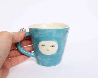 Turquoise wonky cup - hand made ceramic cup