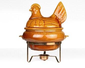 chicken, soup tureen, covered casserole dish, ceramic, California Pottery, 1960s, brown glaze, retro, vintage kitchen, storage, repurpose