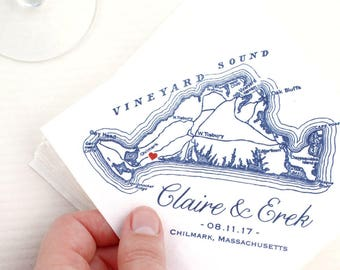 Custom Martha's Vineyard Napkins, Martha's Vineyard Wedding Favor, Martha's Vineyard Napkins, Custom Printed Martha's Vineyard Napkins