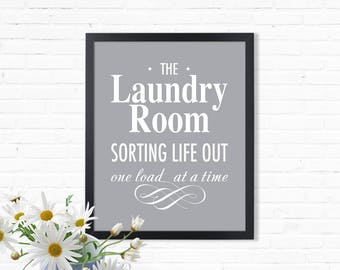 Laundry Room Print, Sorting life out one load at a time, Laundry Room art, Digital Laundry art, Laundry quote print, JPG file, printable art