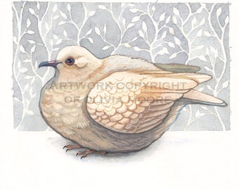 Bird Art - Dove Art - Original Watercolor Painting - Woodland Home Decor