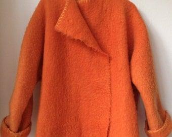 Handmade dekenjas blanketcoat made of a orange wool blanket,  size M/L