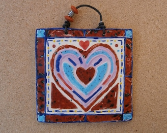 Red and blue heart wall art -  Ceramic heart plaque - Heart wall hanging - Heart gift for her - Valentine's day gift