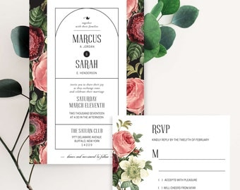 Cottage Rose Wedding Invitation Suite